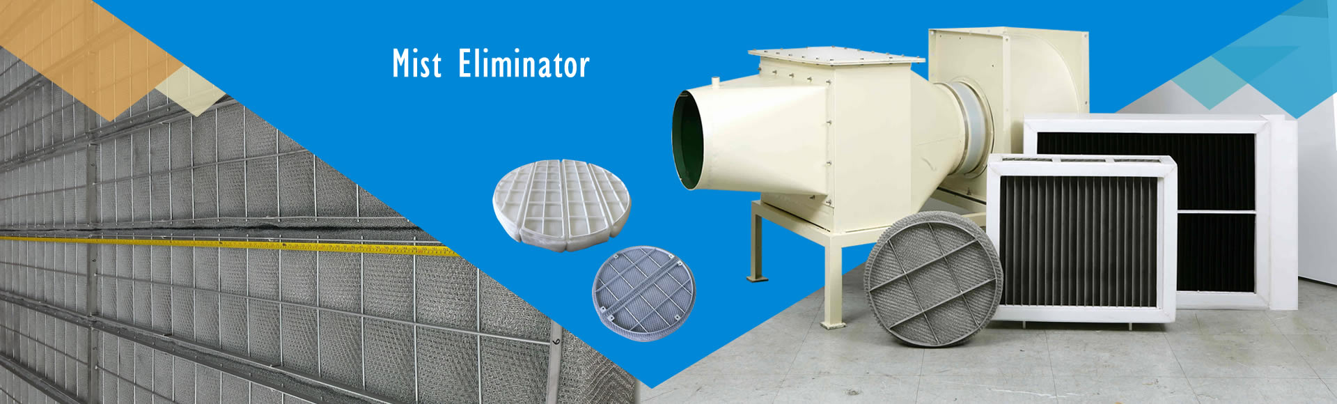 PP and stainless steel mist eliminators for gas-liquid separation.